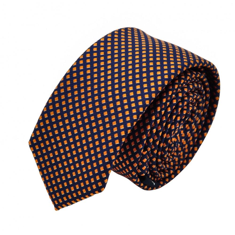 Cravate Slim homme Orange et marine quadrillée