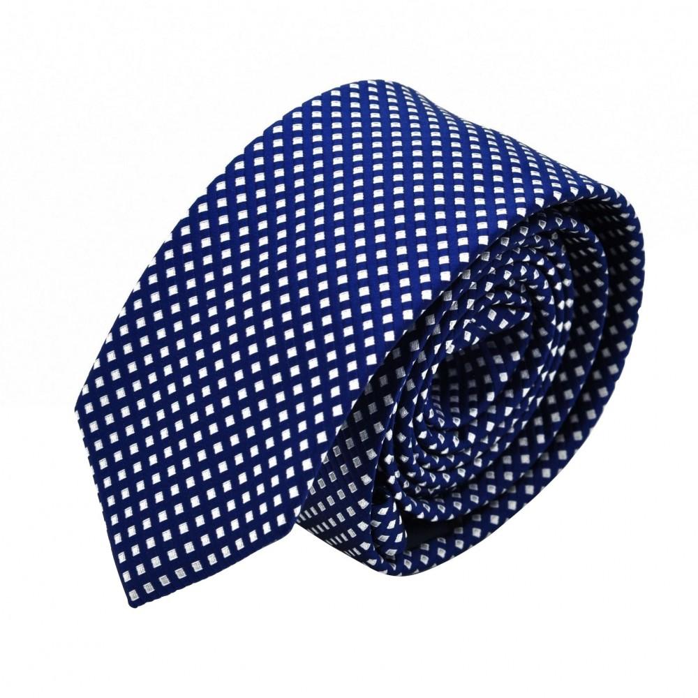 Cravate Slim homme Bleue quadrillée