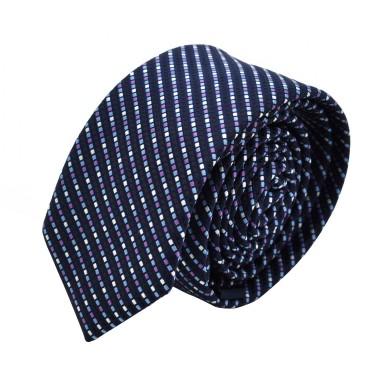 Cravate Slim homme Bleue à fin quadrillage
