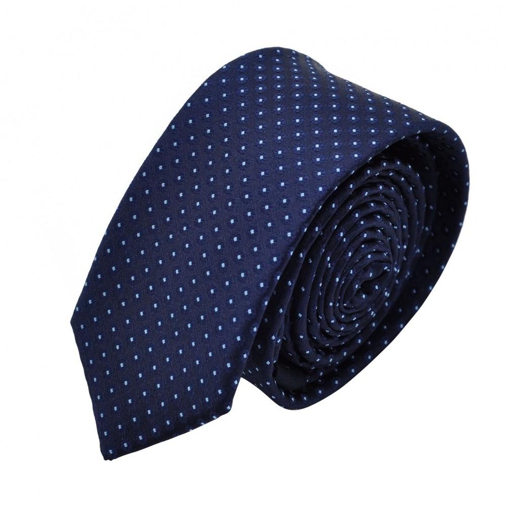 Cravate Slim homme Bleue marine à pois