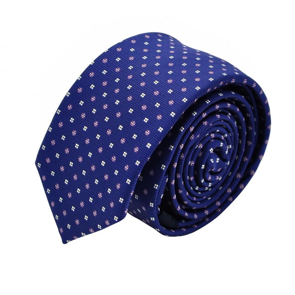 Cravate Slim homme Bleue à motifs violet