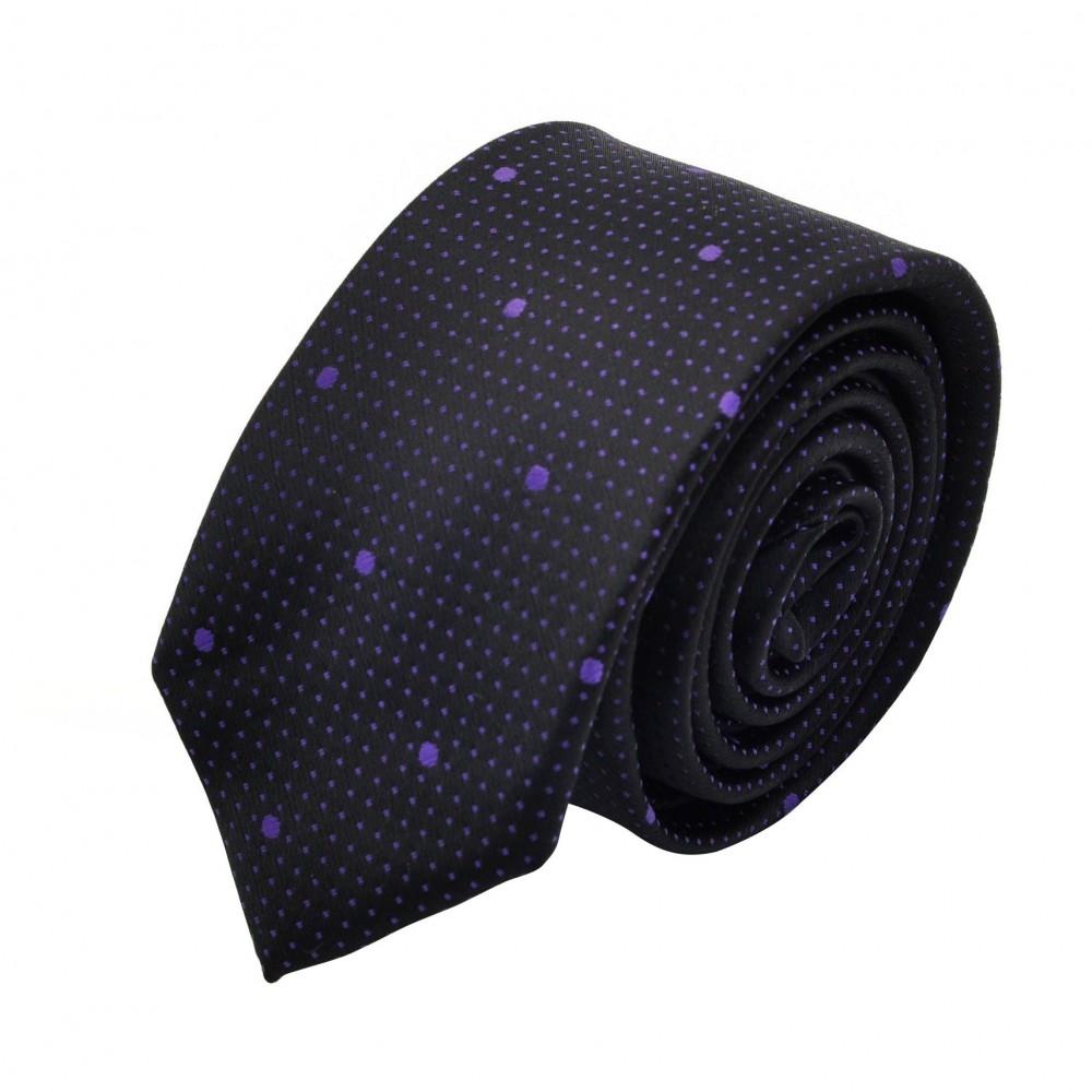 Cravate Slim homme Noire à pois violet