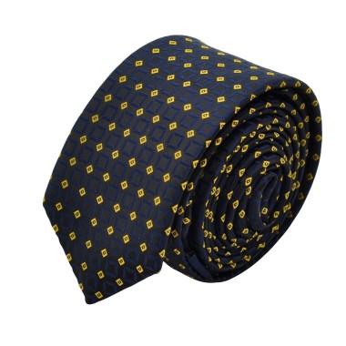 Cravate Slim homme Noire à motifs jaunes