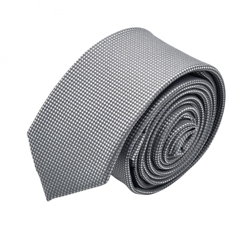 Cravate Slim homme Gris à fin quadrillage