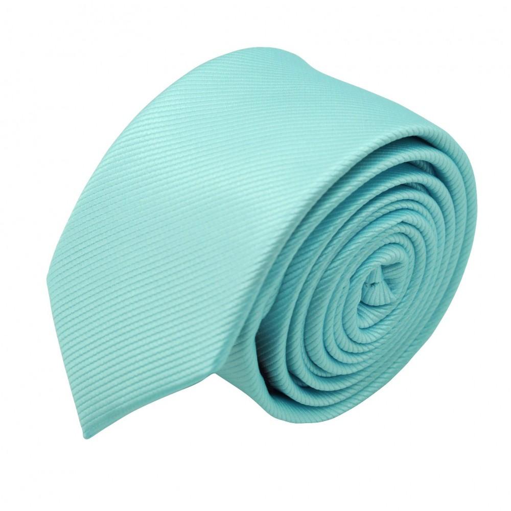 Cravate Slim Homme. Strié Bleu Turquoise clair