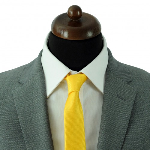 Cravate Slim Homme. Strié Jaune