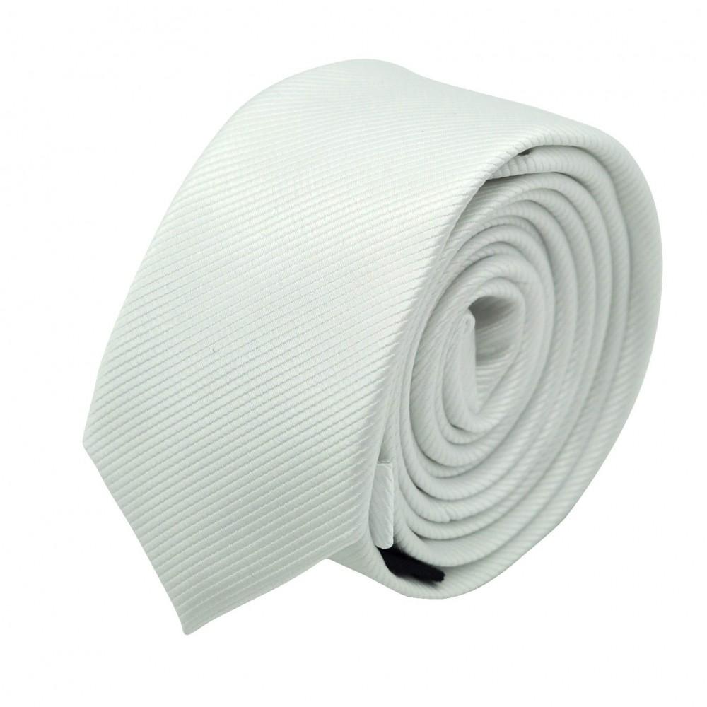 Cravate Slim Homme. Strié Blanc