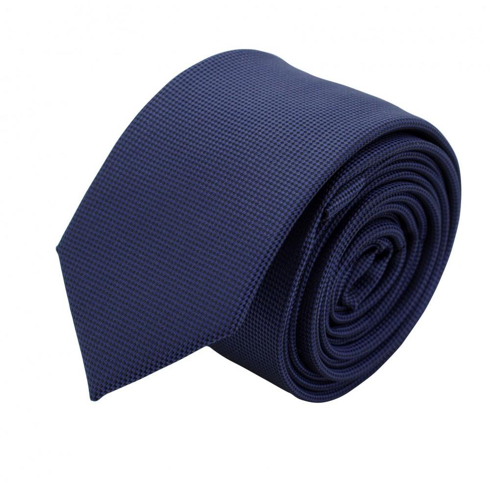 Cravate Slim Homme. Très fin quadrillage Bleu Marine