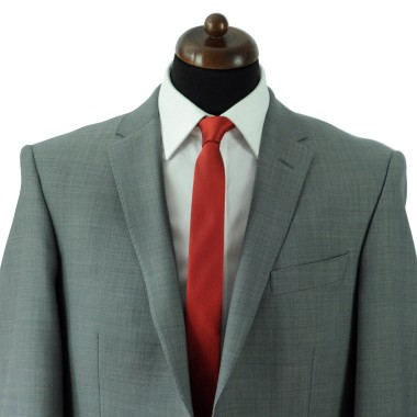 Cravate Slim Homme. Très fin quadrillage Rouge