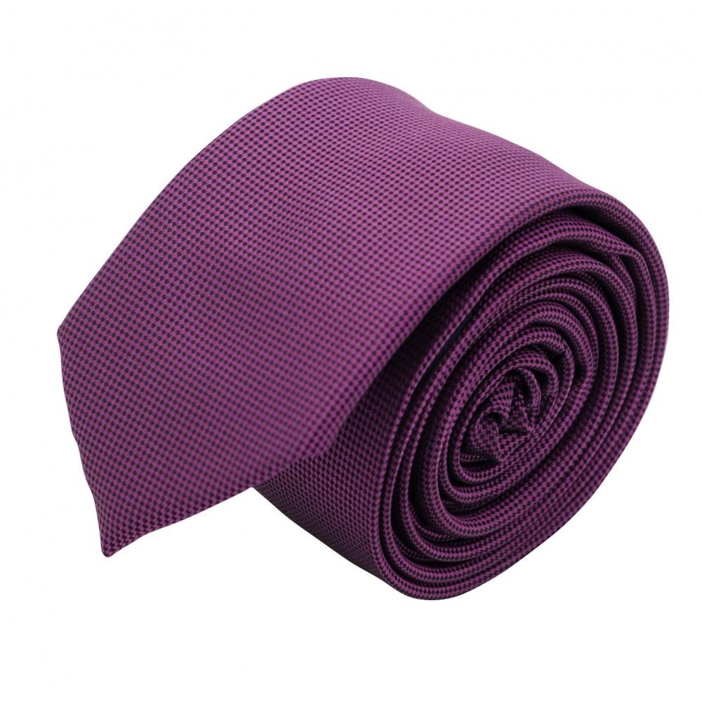 Cravate Slim Homme. Très fin quadrillage Violet