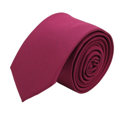 Cravate Slim Homme. Très fin quadrillage Fuchsia