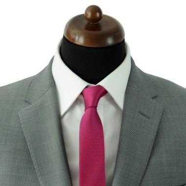 Cravate Slim Homme. Très fin quadrillage Fuchsia