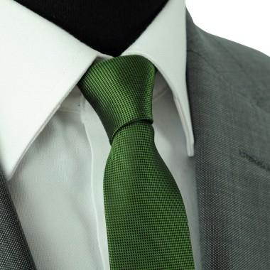Cravate Slim Homme. Très fin quadrillage Vert