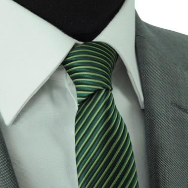Cravate Slim Homme. Verte à rayures