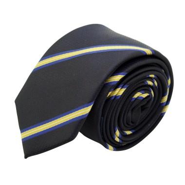 Cravate Slim Homme. Noir à rayures jaunes