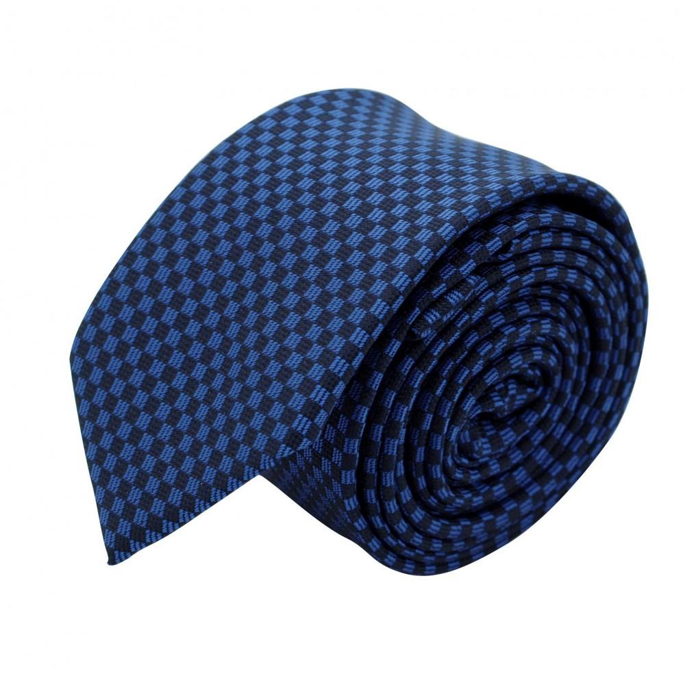 Cravate Slim Homme. Bleu et noir à petits carrés