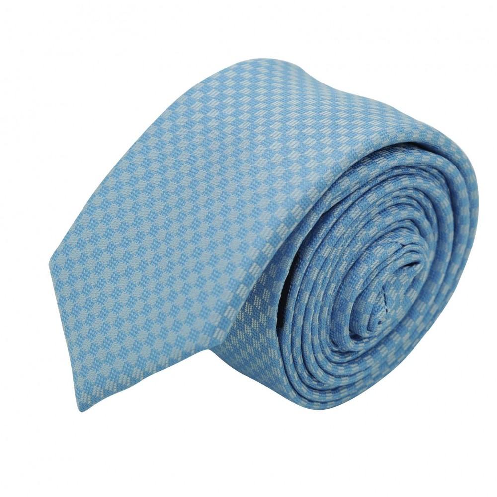 Cravate Slim Homme. Bleu ciel à petits carrés