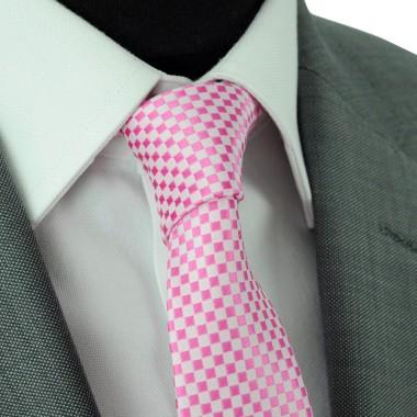 Cravate Slim Homme. Rose à petits carrés