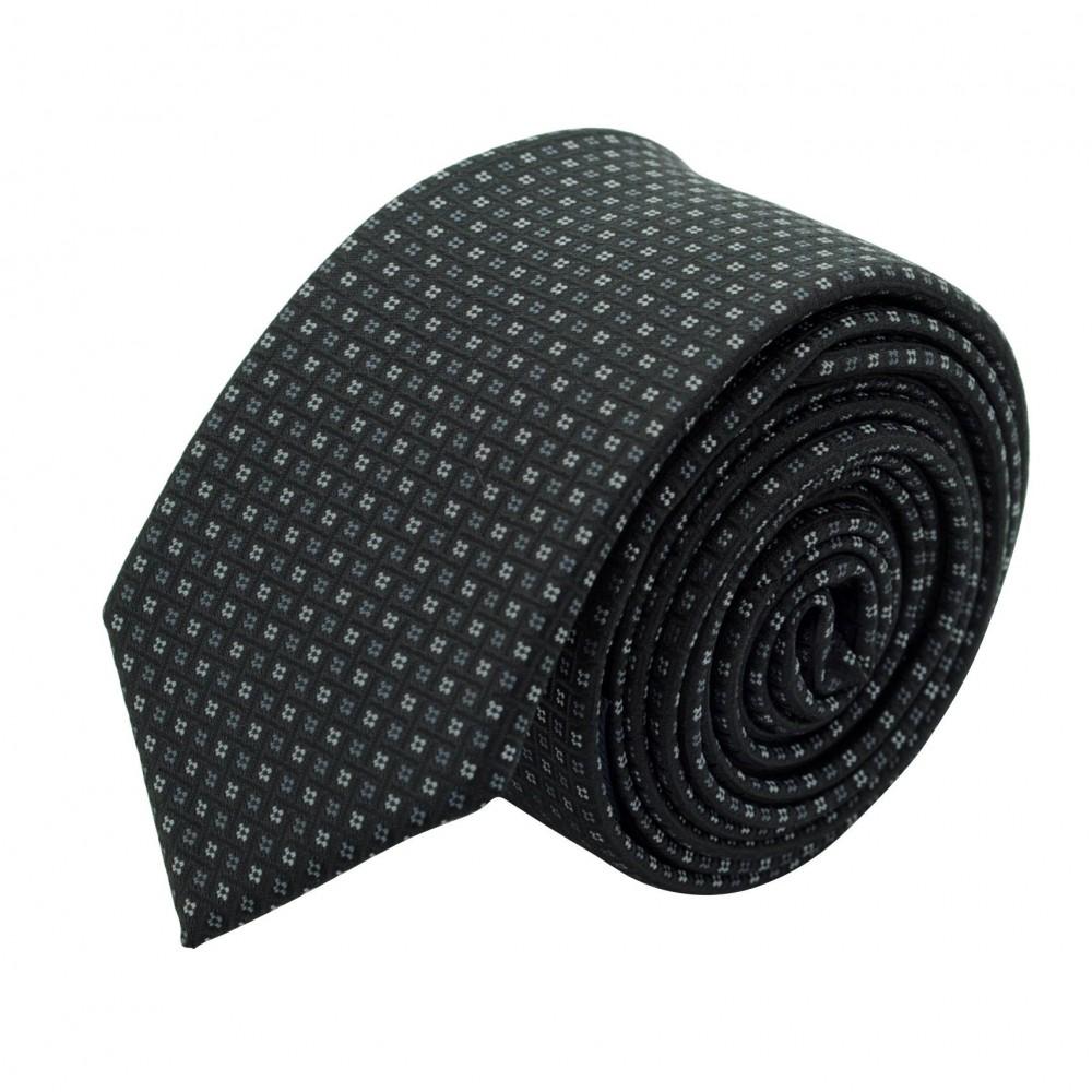 Cravate Slim Homme. Noir à petits motifs