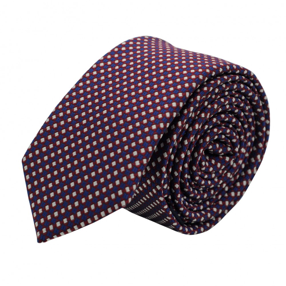 Cravate Slim Homme. Bleu marine à petits motifs carrés