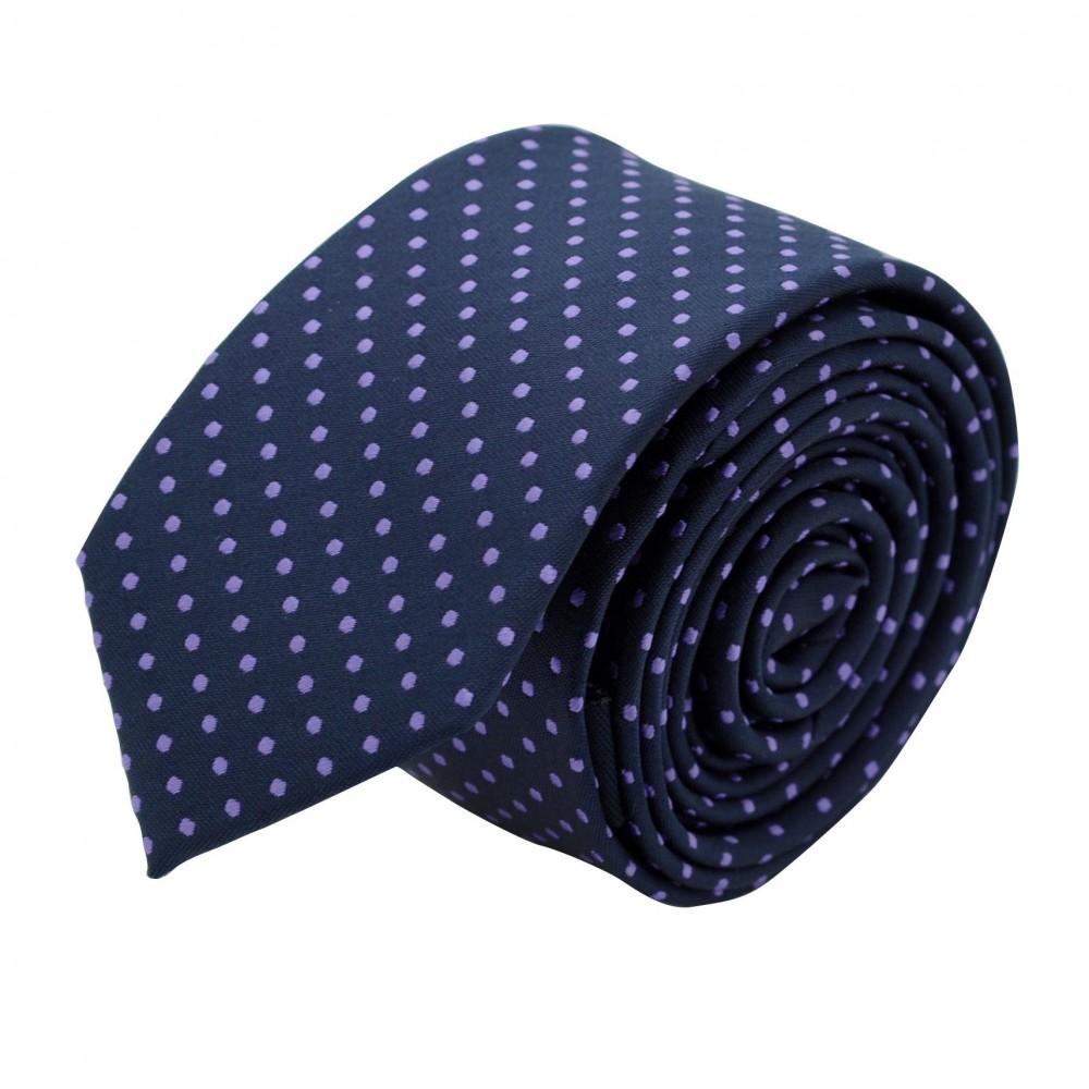 Cravate Slim Homme. Bleu Marine à pois violet