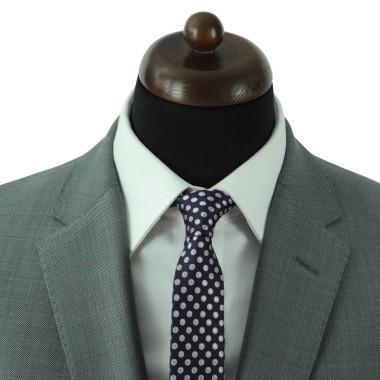 Cravate Slim Homme. Bleu Marine à gros pois roses