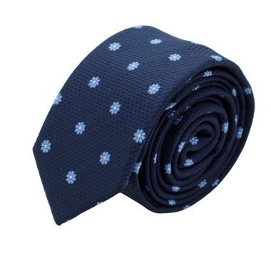 Cravate Slim Homme. Bleu Marine à fleurs ciel