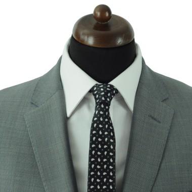 Cravate Slim Homme. Noir à petits motifs Paisley