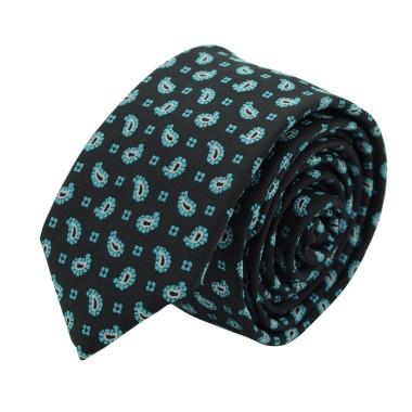 Cravate Slim Homme. Noir à petits motifs Paisley turquoise