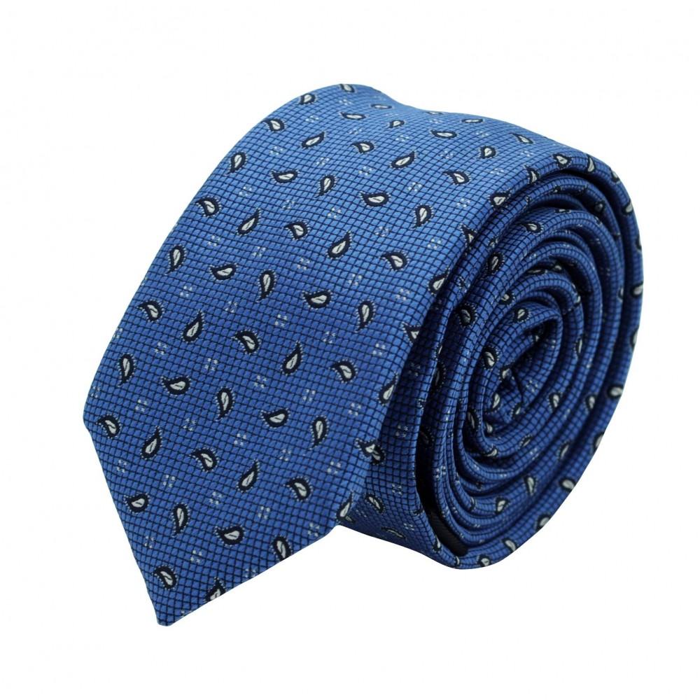 Cravate Slim Homme. Bleu à petits motifs Paisley
