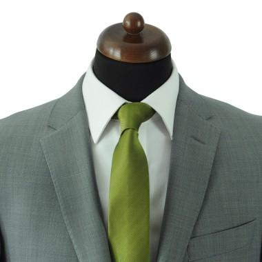 Cravate Classique Homme.  Strié Vert Olive