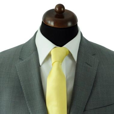 Cravate Classique Homme. Strié Jaune pâle