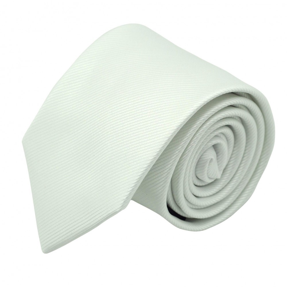 Cravate Classique Homme. Strié Blanc