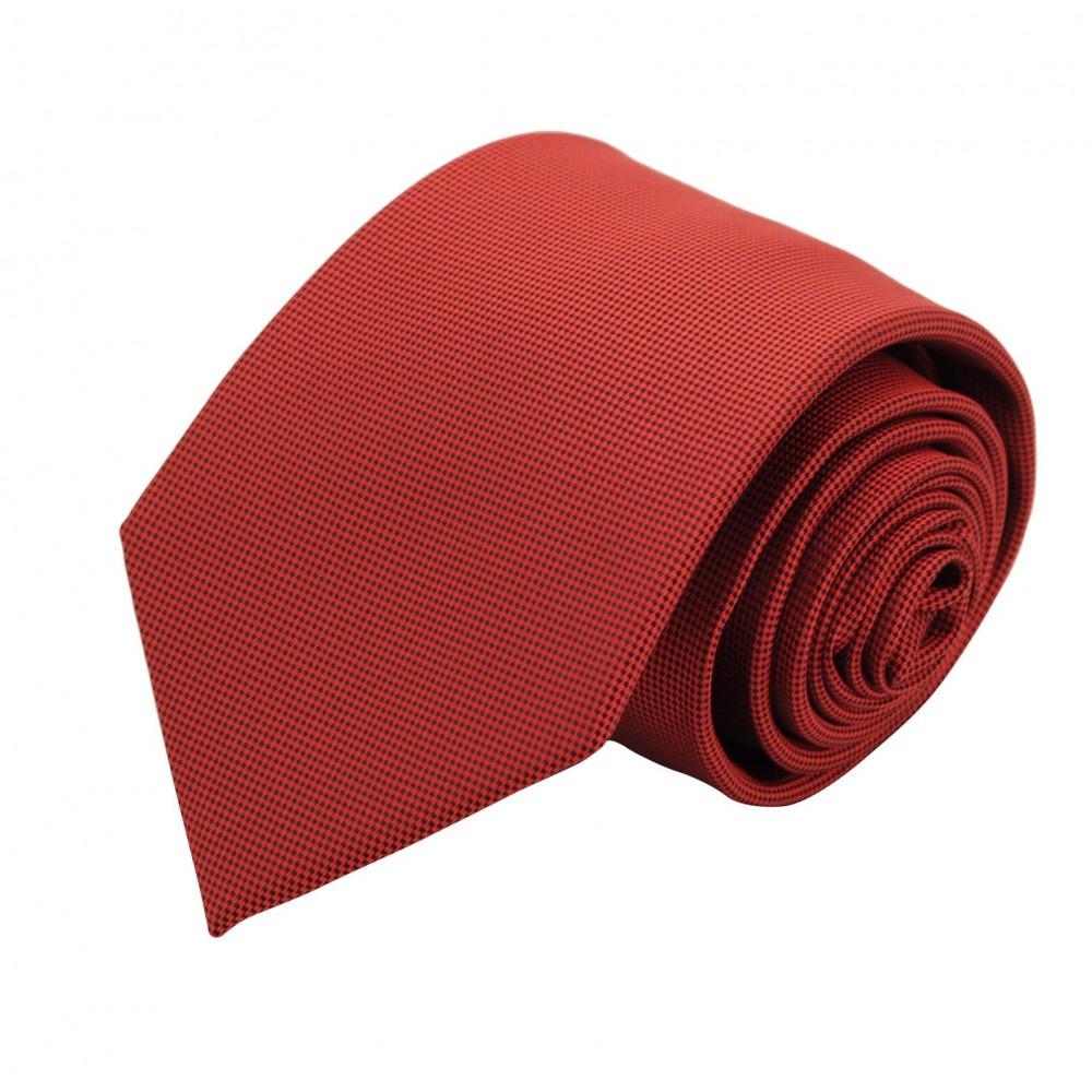 Cravate Classique Homme. Très fin quadrillage Rouge