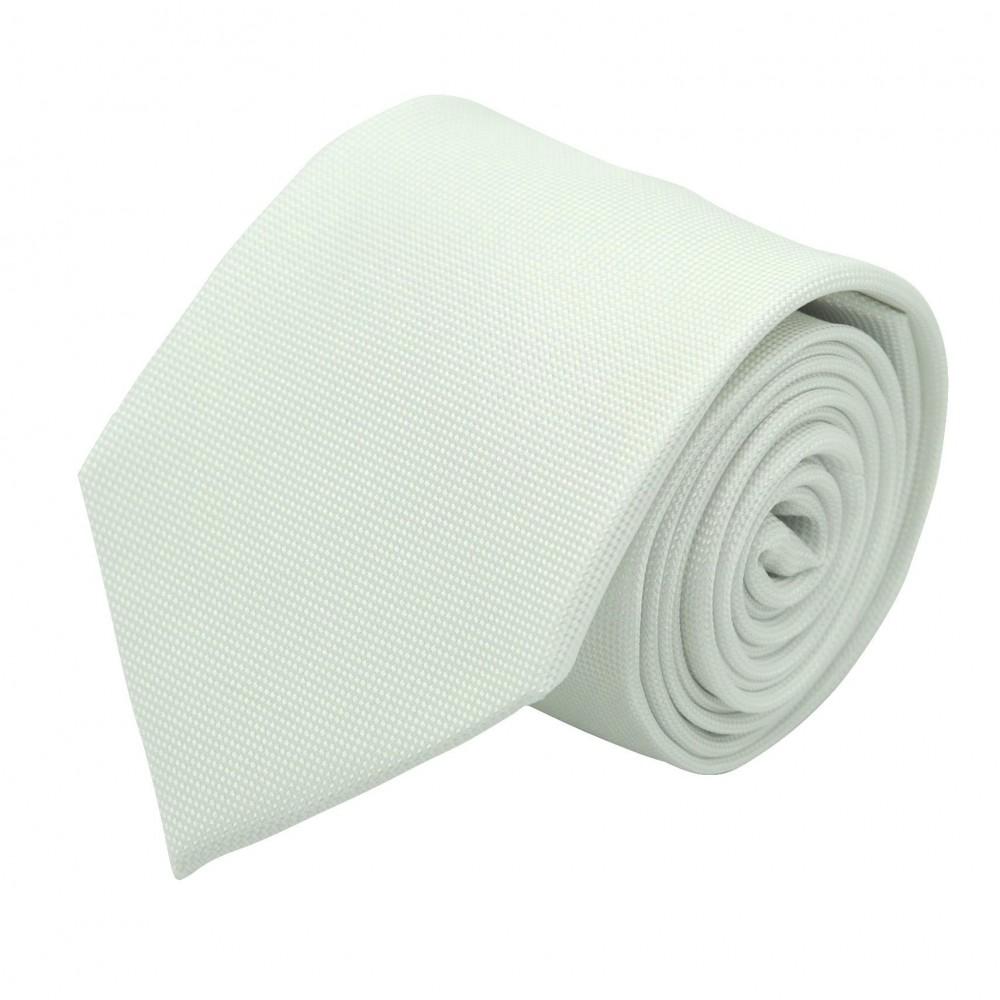 Cravate Classique Homme. Très fin quadrillage Blanc