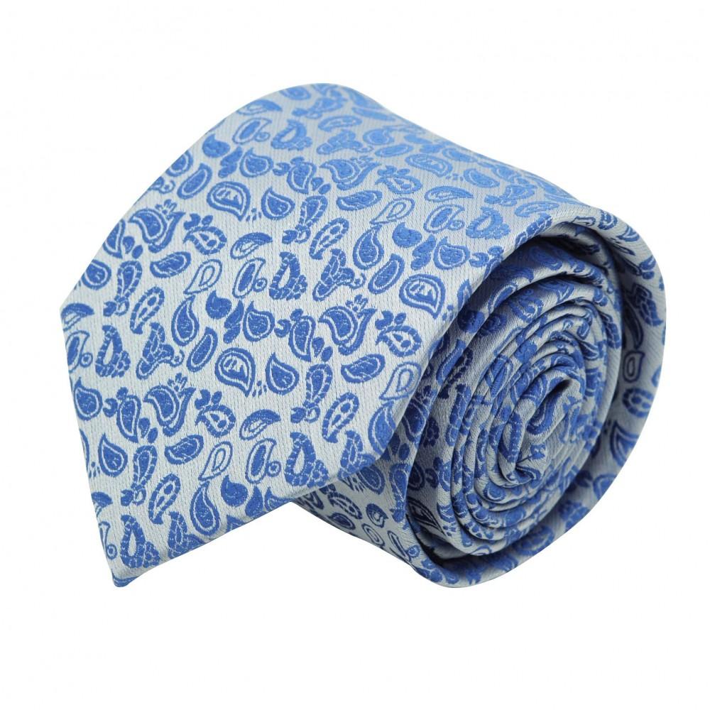 Cravate Classique Homme. Bleu Ciel à motifs Paisley