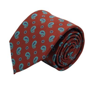 Cravate Classique Homme. Cuivré à motifs Paisley