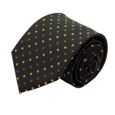 Cravate Classique Homme. Noir à pois Or/Marron