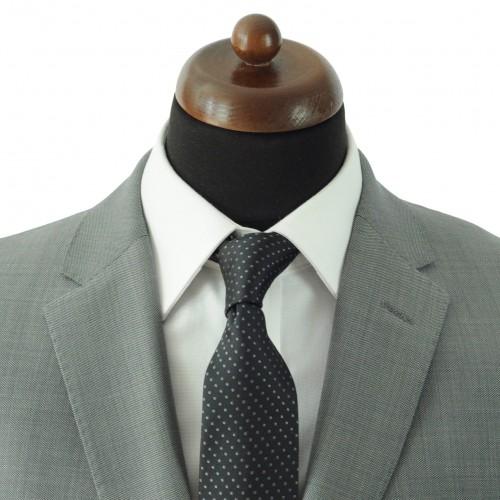 Cravate Classique Homme. Noir à pois gris