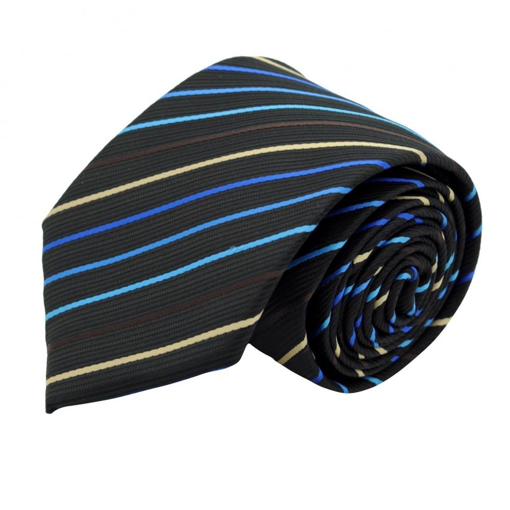 Cravate Classique Homme. Noir à rayures bleues
