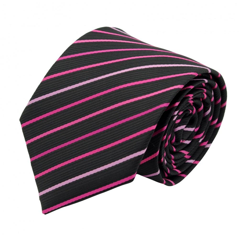 Cravate Classique Homme. Noir à rayures roses