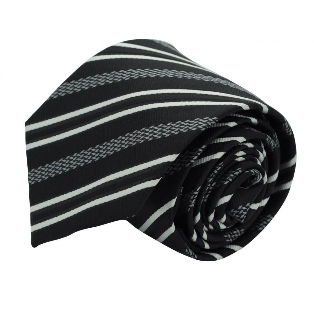 Cravate Classique Homme. Noir à rayures blanches