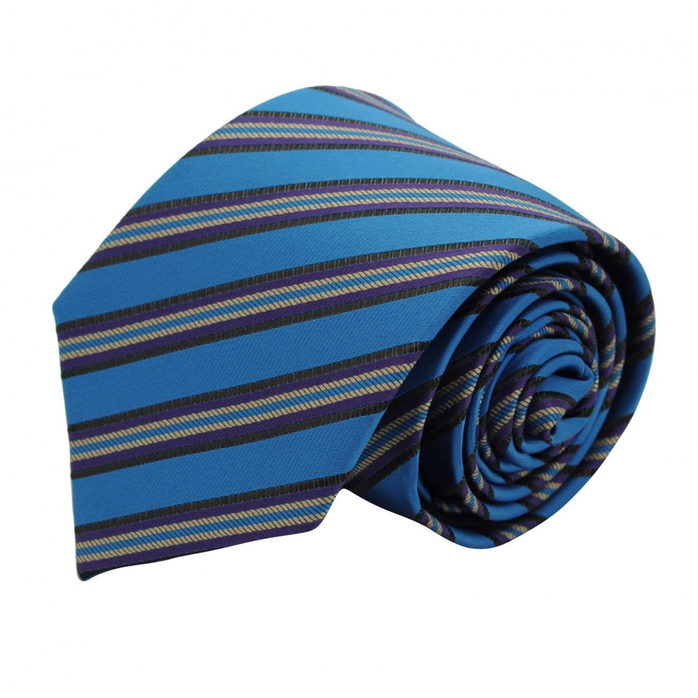 Cravate Classique Homme. Bleu canard à rayures