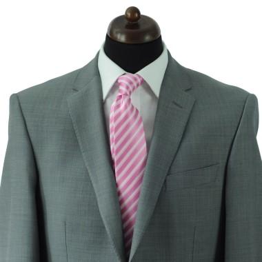 Cravate Classique Homme. Rose à rayures blanches