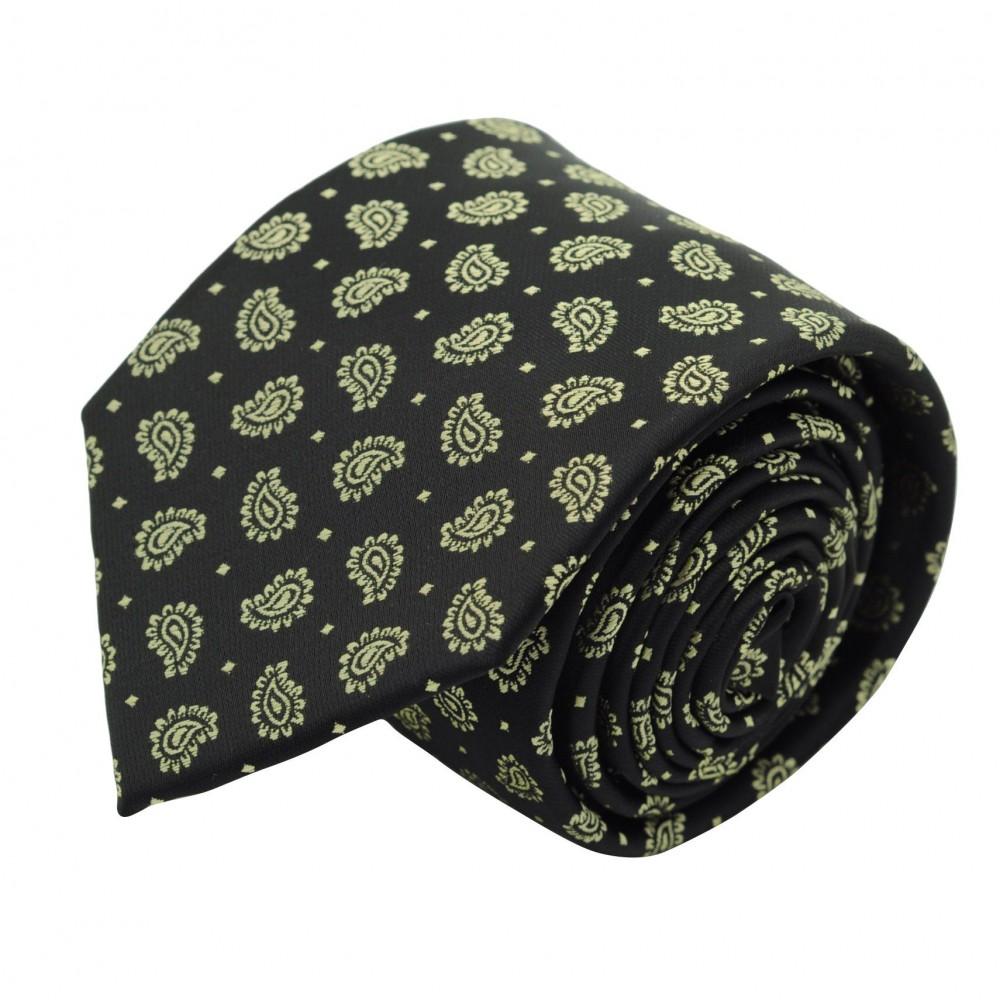 Cravate Classique Homme. Noir à motifs Paisley