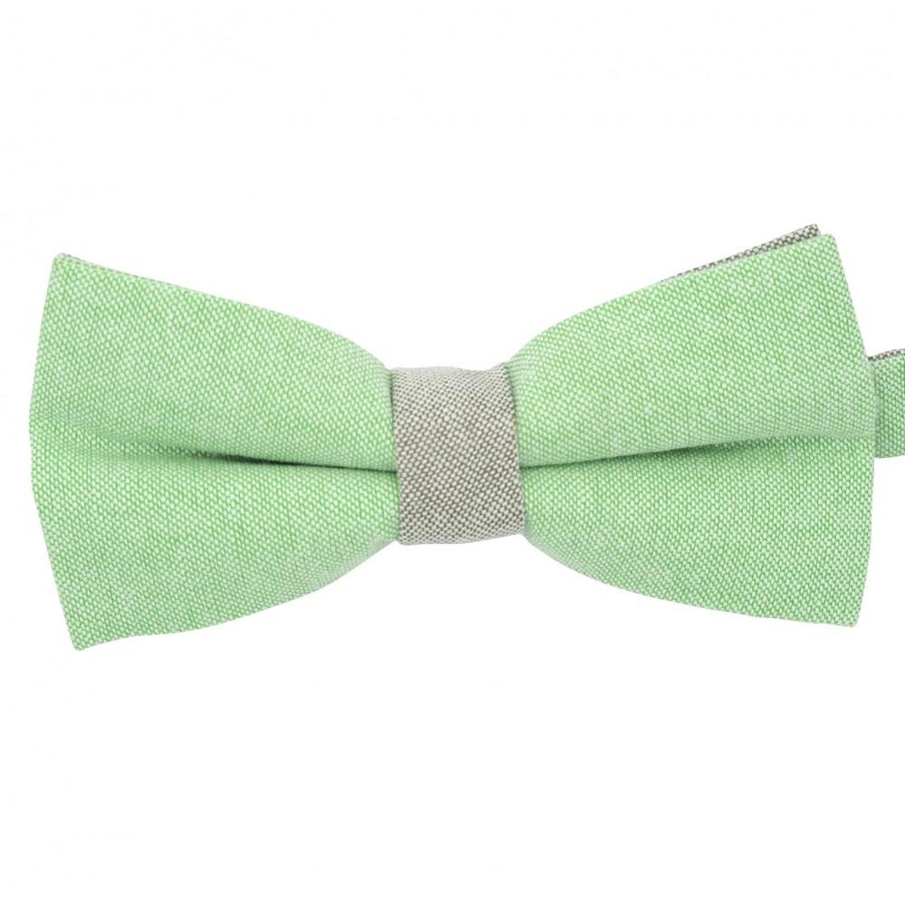 Noeud papillon pastel Vert et Beige. En Coton, bicolore