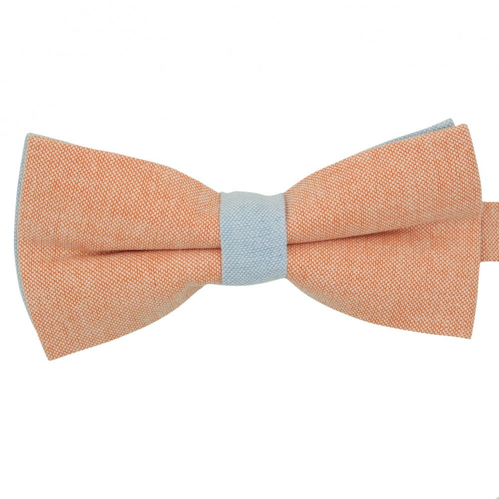 Noeud papillon pastel Orange et Bleu ciel. En Coton, bicolore