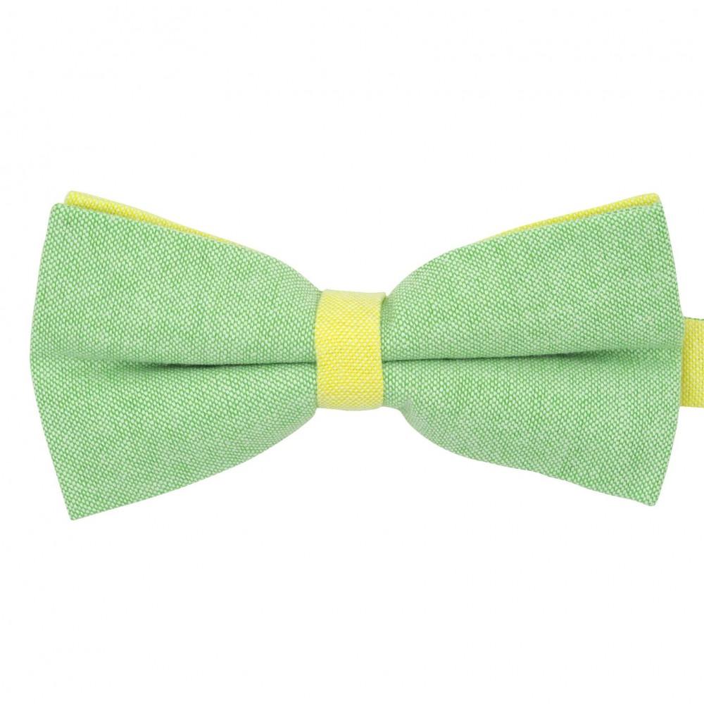 Noeud papillon pastel Vert et Jaune. En Coton, bicolore