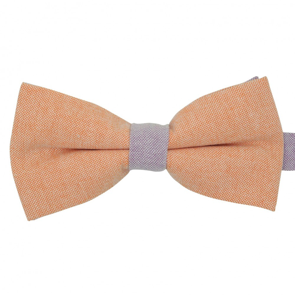 Noeud papillon pastel Orange et Parme. En Coton, bicolore