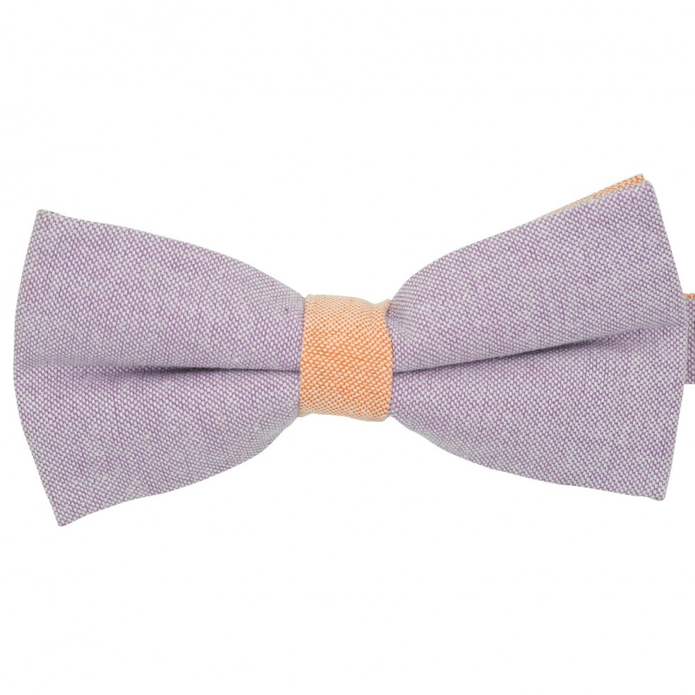 Noeud papillon pastel Parme et Orange. En Coton, bicolore